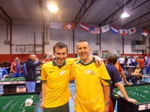 Robert Green and Peter Thomas at the 2014 Table Football world cup