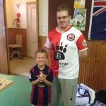 MTFC Club president Luke Radziminski presenting Aidan Deverell with his new player trophy