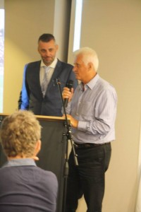 MC Simon Hill and Australian football legend Rale Rasic