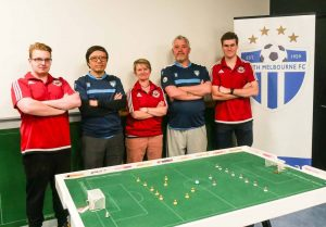 Melbourne club representatives Luke Radziminski (MTFC), Benny Ng (WTF), Beth Eveleigh (MTFC), Kevin Grant (WTF), Benji Batten (MTFC).