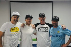 Kimon Taliadoris (FFV President), Scott Jamieson (Melbourne City FC Captain), Adrian Connolly (ATFA President and Testicular Cancer fighter), and Simon Briffa (Table Footballer and Testicular Cancer fighter)