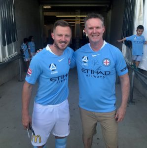 Melbourne City FC captain Scott Jamieson, left, with Australian Table Football Association President Adrian Connolly prior to his diagnosis.
